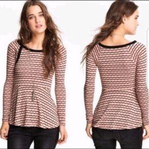 FREE PEOPLE Wavy Stripe Pointelle Peplum Sweater L